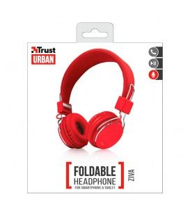 TRUST Ziva Auriculares Plegables para Smartphone y Tablets (RED)